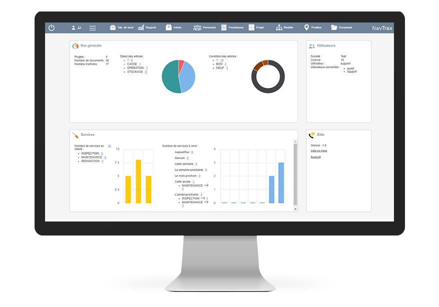 NavTrax, application de gestion et de maintenance du matériel