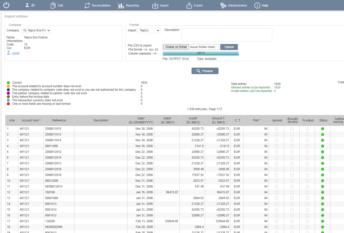 Import intra group entries from differents sources
